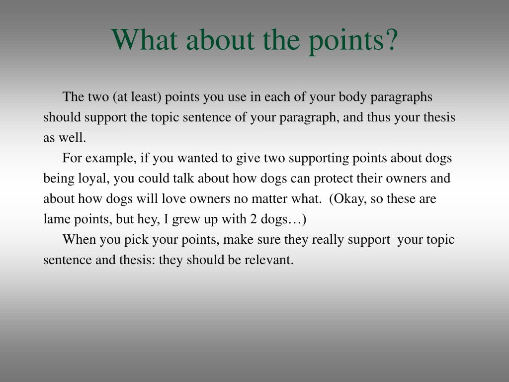 What about the points?