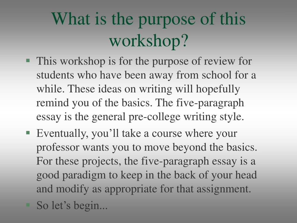 What is the purpose of this workshop?