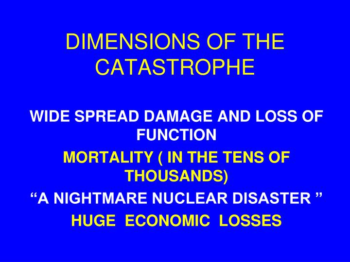 DIMENSIONS OF THE CATASTROPHE