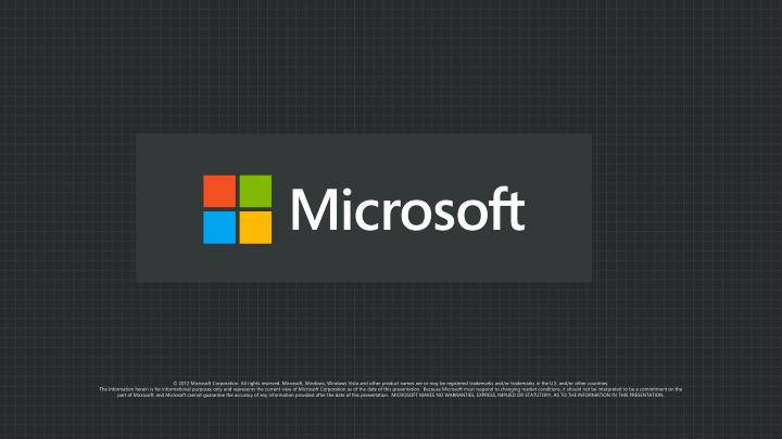 © 2012 Microsoft Corporation. All rights reserved. Microsoft, Windows, Windows Vista and other product names are or may be registered trademarks and/or trademarks in the U.S. and/or other countries.