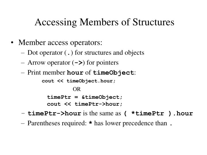 Accessing Members of Structures