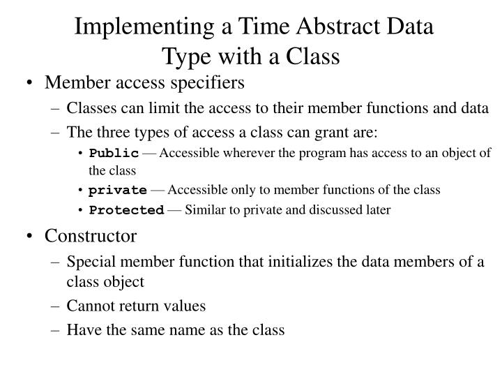 Implementing a Time Abstract Data Type with a Class