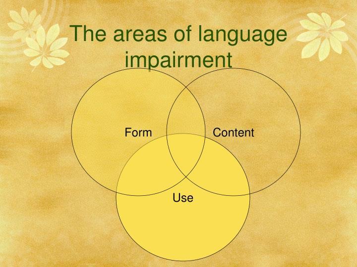 The areas of language impairment