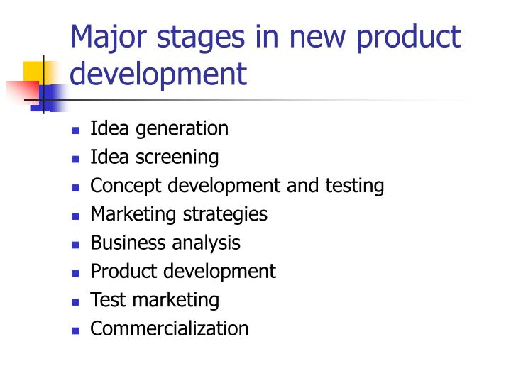 Major stages in new product development