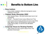 benefits to bottom line