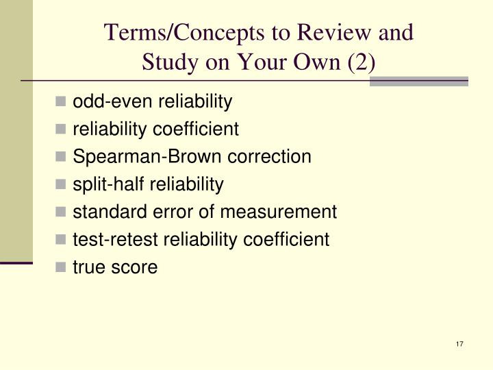 Terms/Concepts to Review and