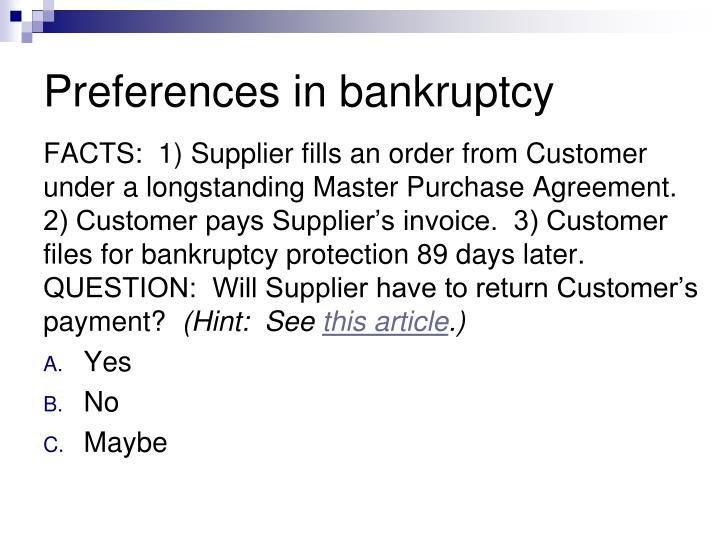 Preferences in bankruptcy