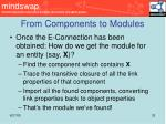 from components to modules