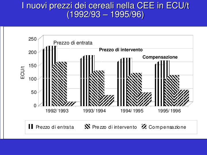 I nuovi prezzi dei cereali nella CEE in ECU/t (1992/93 – 1995/96)
