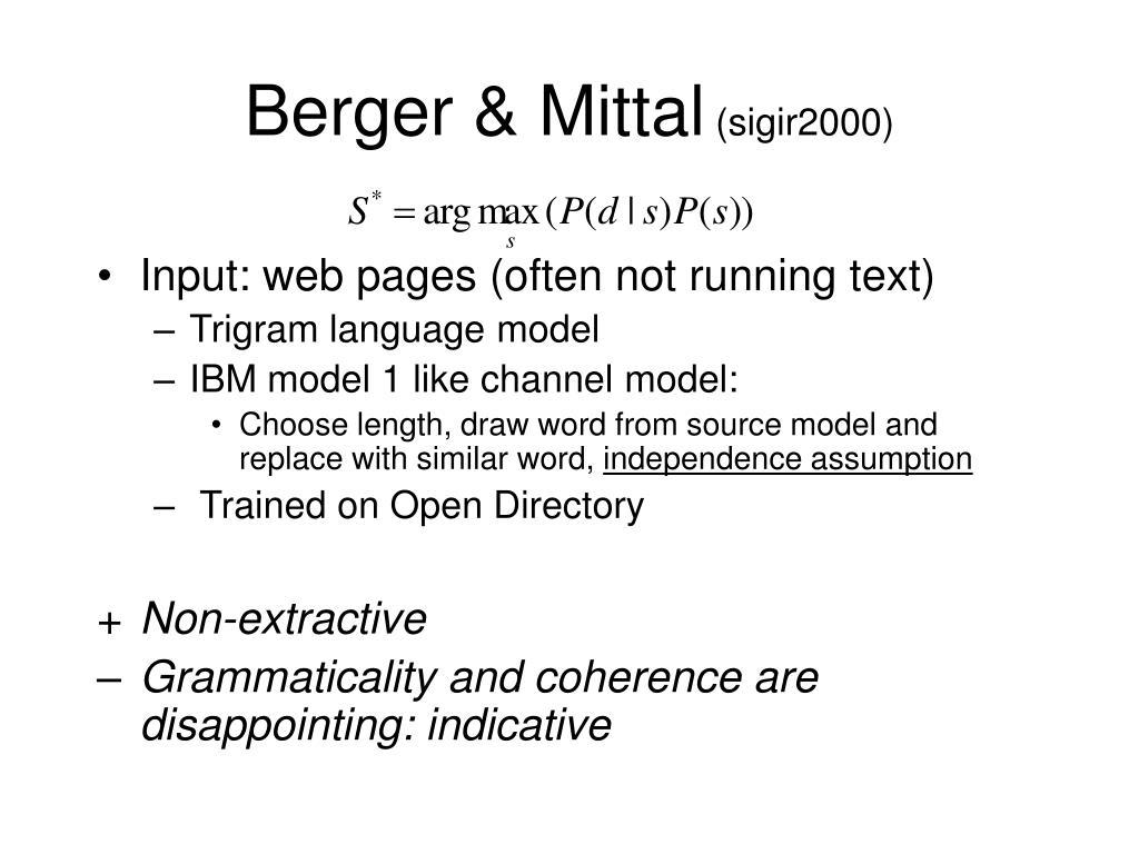 Berger & Mittal