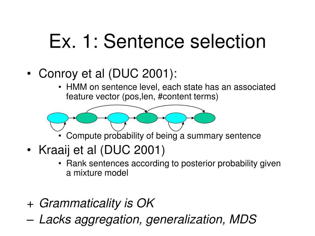 Ex. 1: Sentence selection