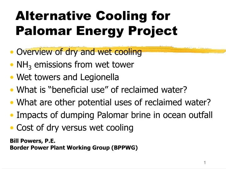 alternative cooling for palomar energy project n.
