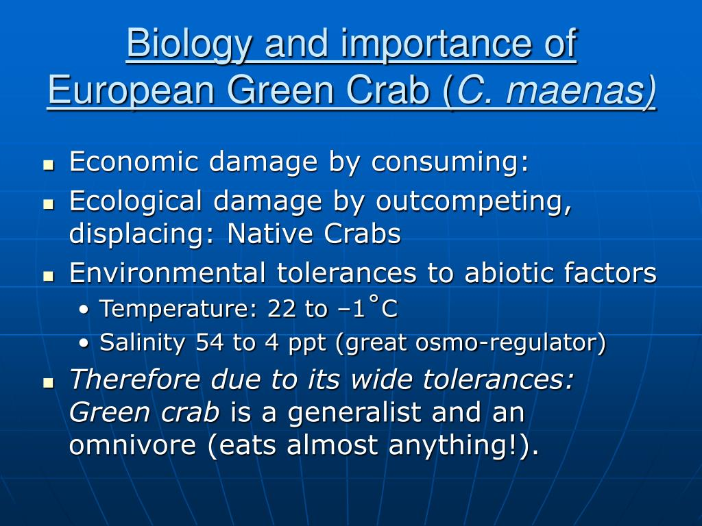 Biology and importance of European Green Crab (