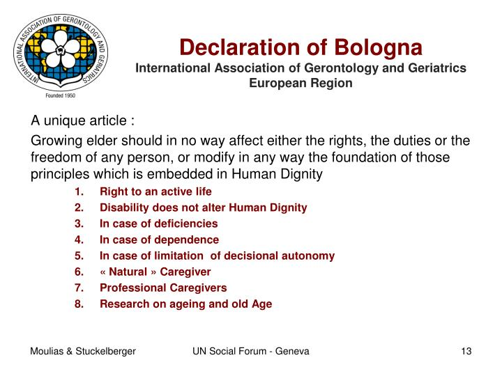 bologna declaration1 The bologna process is a series of ministerial meetings and agreements between european countries designed to ensure comparability in the standards and quali.