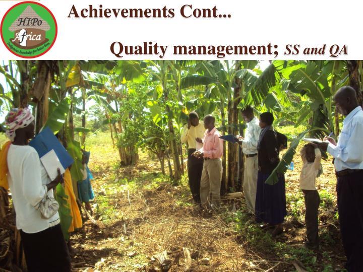 Achievements Cont...
