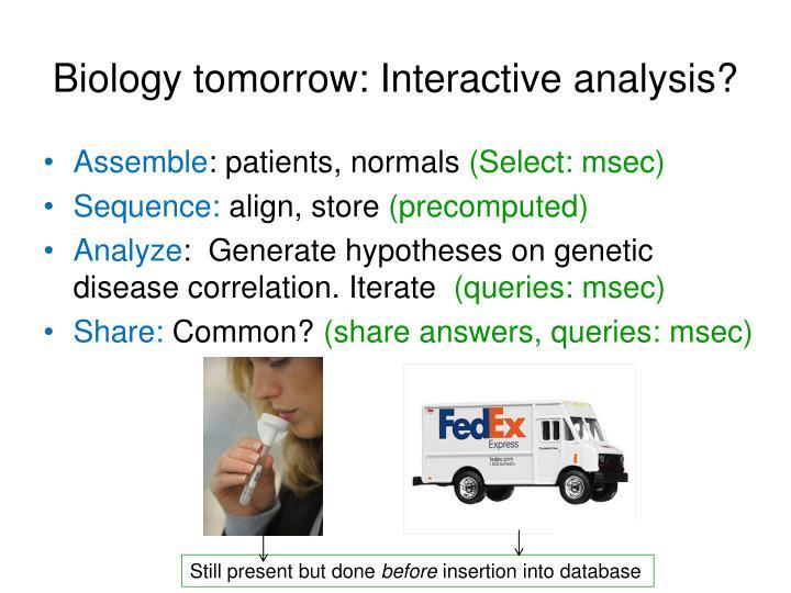 Biology tomorrow: Interactive analysis?