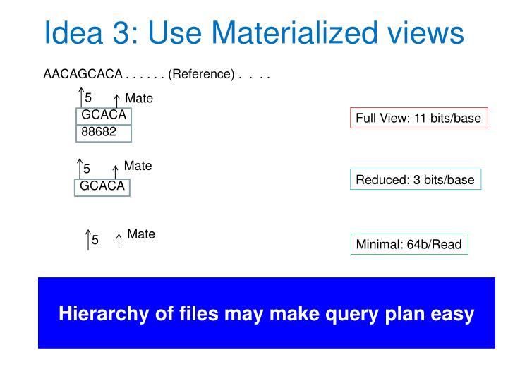 Idea 3: Use Materialized views