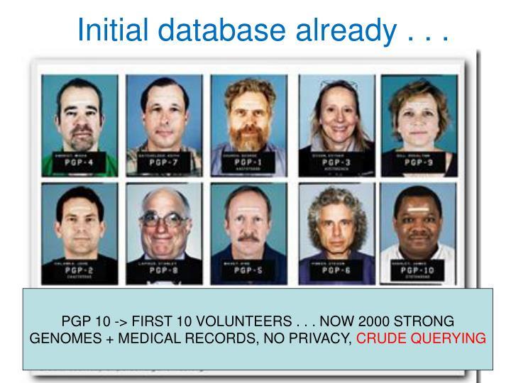 Initial database already . . .