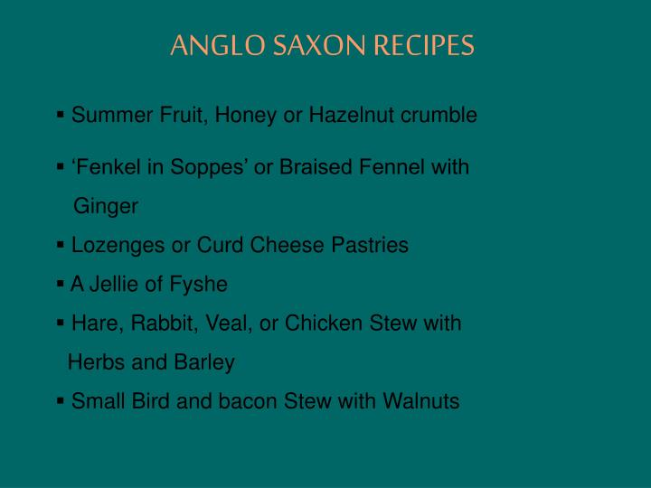 Ppt The Food And Drink Of The Anglo Saxon Period