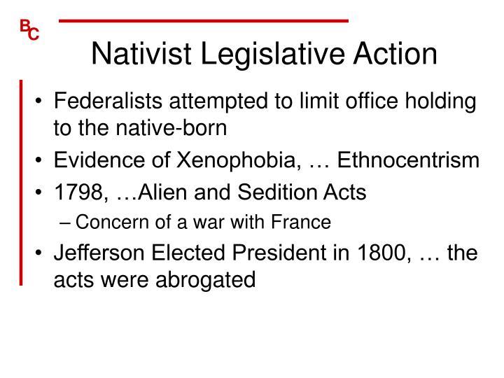 Nativist Legislative Action
