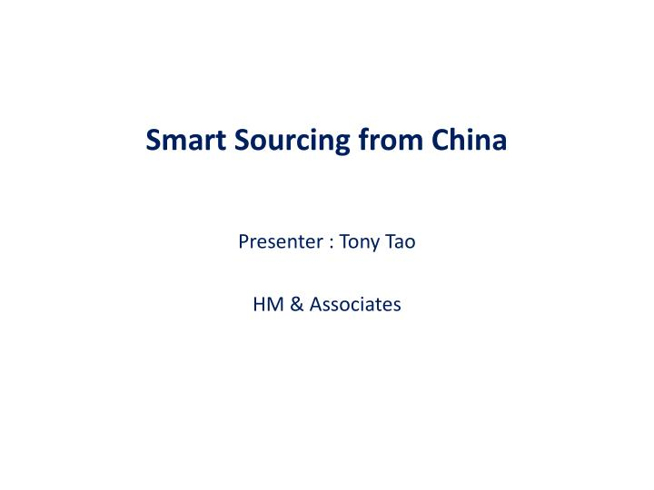smart sourcing from china n.