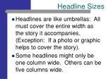 headline sizes