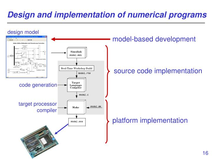 Design and implementation of numerical programs
