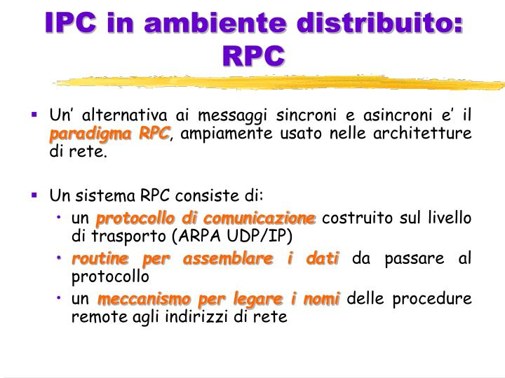 IPC in ambiente distribuito: RPC