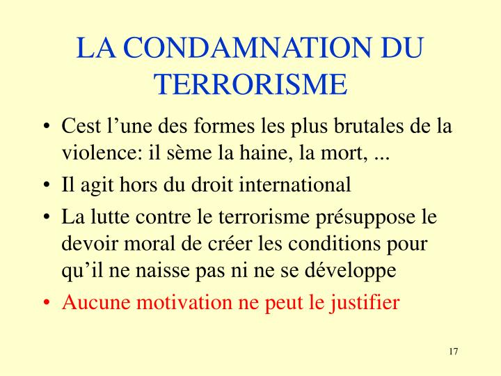 LA CONDAMNATION DU TERRORISME