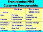 transitioning hme customer demographics