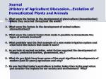 journal 2history of agriculture discussion evolution of domesticated plants and animals