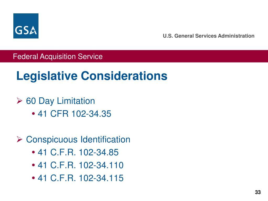 Legislative Considerations