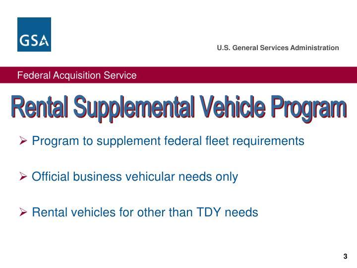 Rental Supplemental Vehicle Program