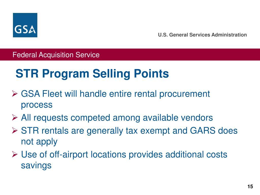 STR Program Selling Points
