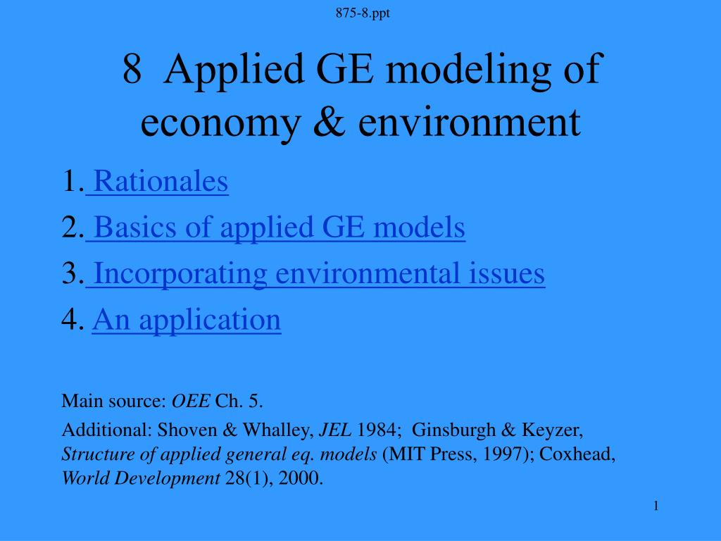 8 applied ge modeling of economy environment l.