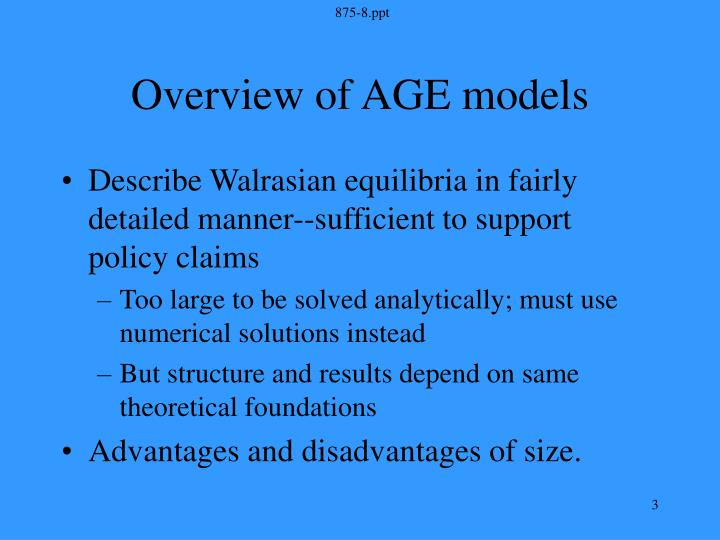 Overview of age models