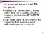 commission response to rsa complaints