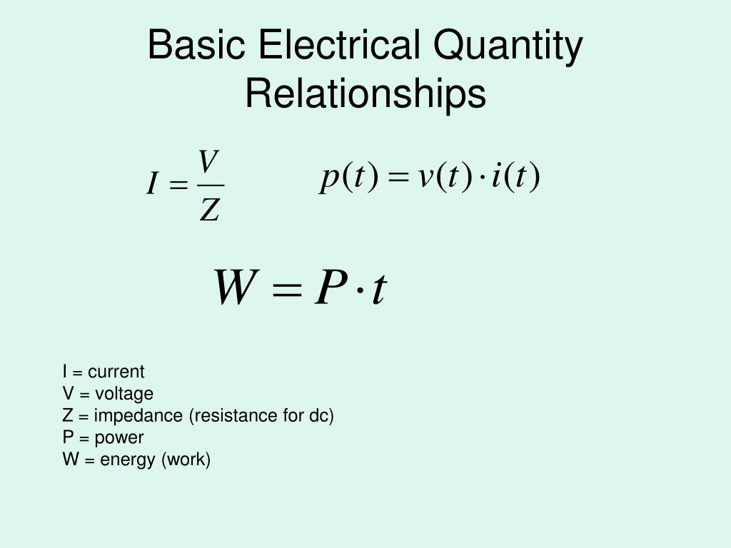 Basic Electrical Quantity Relationships