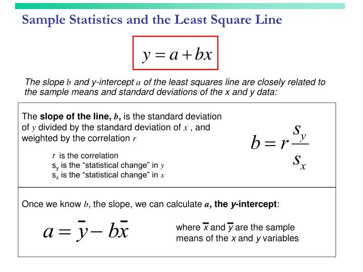 Sample Statistics and the Least Square Line