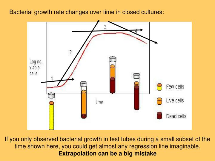 Bacterial growth rate changes over time in closed cultures: