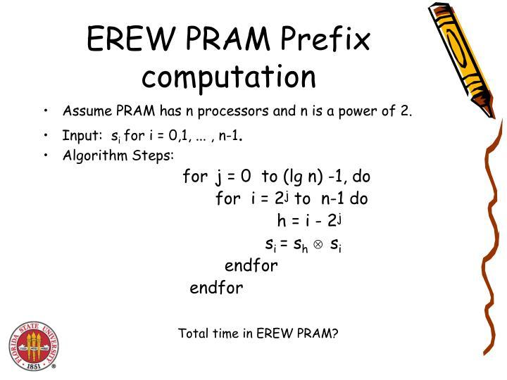 EREW PRAM Prefix computation