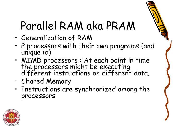 Parallel RAM aka PRAM