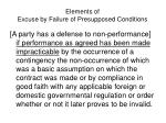 elements of excuse by failure of presupposed conditions