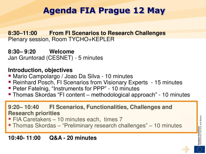 Agenda FIA Prague 12 May