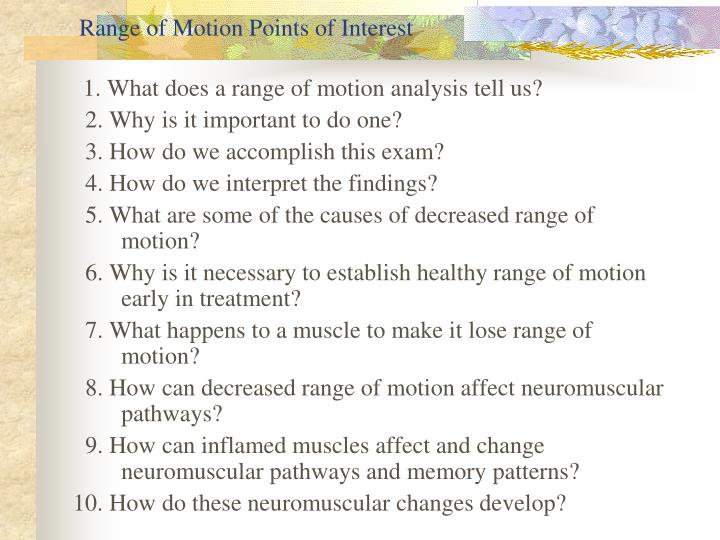 Range of Motion Points of Interest