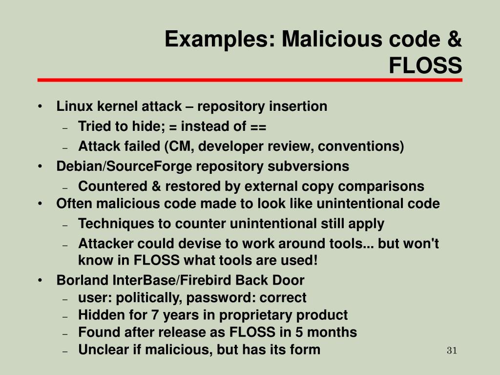 Examples: Malicious code & FLOSS