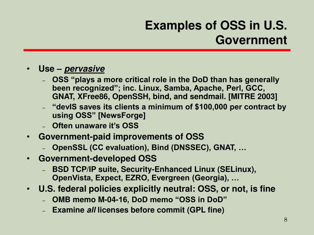 Examples of OSS in U.S. Government
