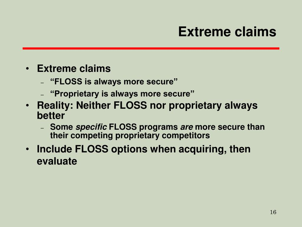 Extreme claims
