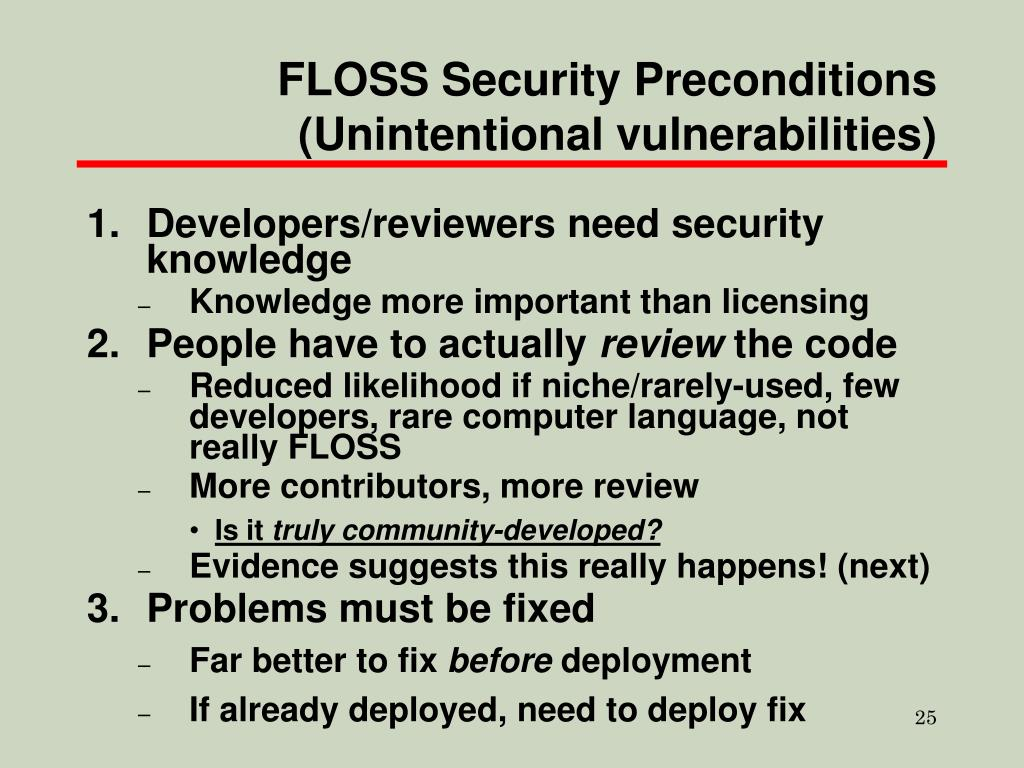 FLOSS Security Preconditions
