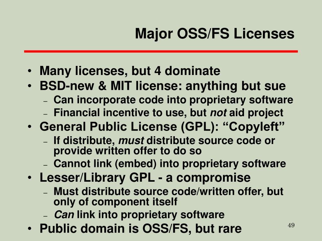 Major OSS/FS Licenses